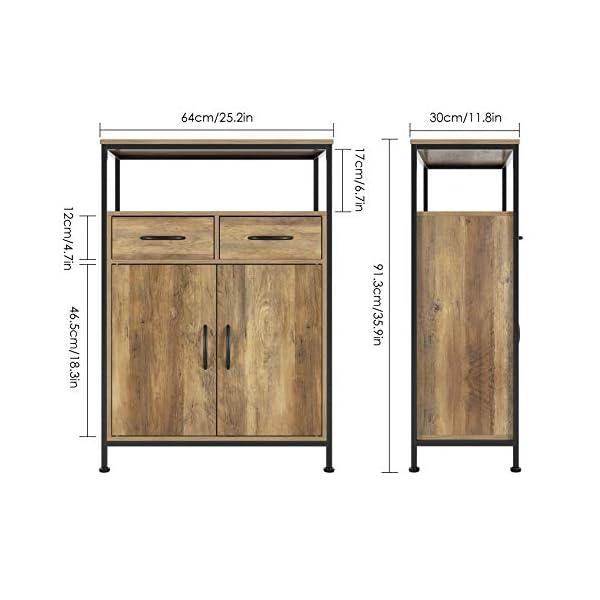HOMECHO Commode Salon avec 2 tiroirs Meuble de Rangement avec 2 Portes Style Industriel pour Le Salon la Chambre l…