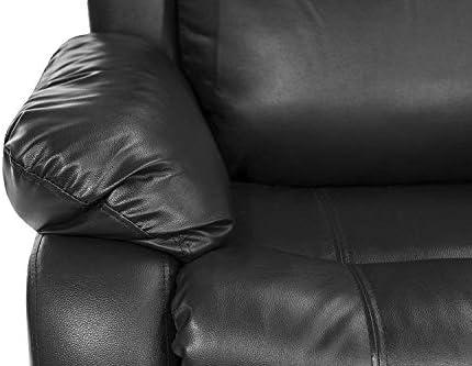 Marvelous Classic Double Reclining Loveseat Bonded Leather Living Room Recliner Black Inzonedesignstudio Interior Chair Design Inzonedesignstudiocom