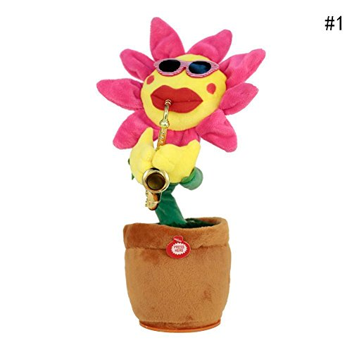 SKSTECH Musical Sing and Dancing Sunflower Soft Plush Funny Creative Saxophone Singing Toy (Pink)