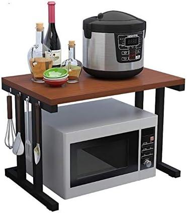 レンジ台 2段電子レンジスタンド木製棚キッチン用品木製収納ラックキッチンタオルとアクセサリー (Color : Black, Size : 57X35X38CM)