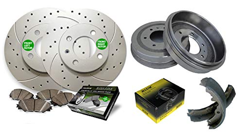 Front Drilled & Slotted Geomet Coated Rotors and Premium Semi Metallic Pads featuring Tripple Layer Wolverine Shims & Rear OE Spec Quiet Technology Drums and Perfect Fit Premium Brake Shoes BK40975DSM