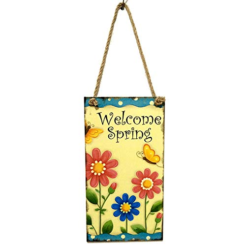 Hanging Plaque Large (Soochat Easter Plaque Wooden Hanging Plaque Welcome Spring Hanging Plaque Festival Wall Door Sign Home Decoration)