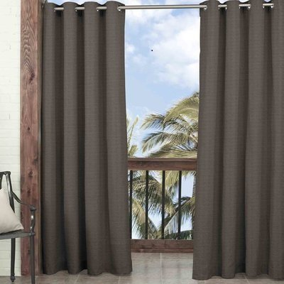 DH 1 Piece 108 Inch Smoke Color Gazebo Curtain Single Panel, Dark Brown Solid Color Pattern Rugby Colors Outside, Outdoor Pergola Drapes Porch Deck Cabana Patio Screen Entrance Sunroom Lanai