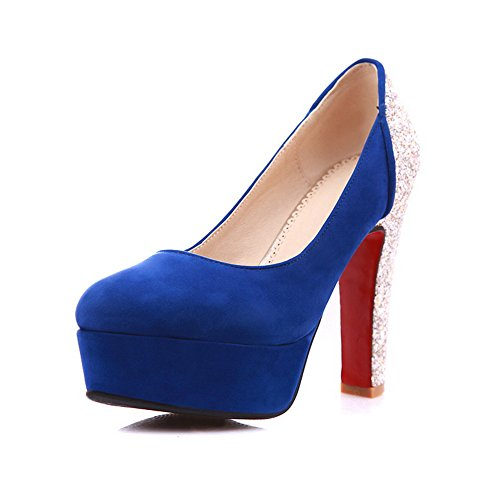 Material Heels Women's High Platform Closed Pumps WeenFashion Toe Blue Shoes with Soft qxE7qI