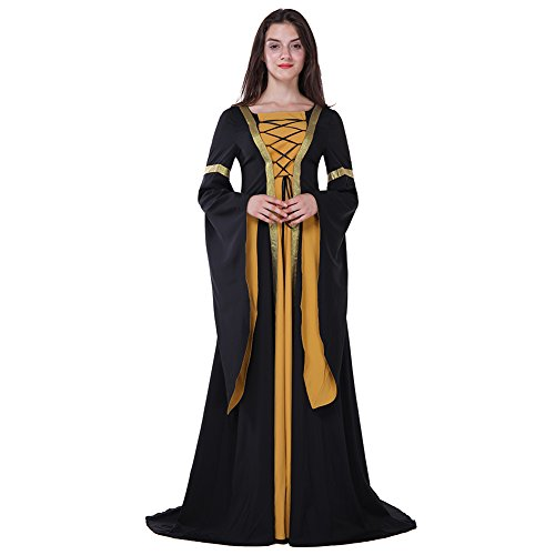 Medieval Dresses Cheap (Fancyqube Women's Medieval Costume Lace Up Vintage Floor Length Cosplay Dress Yellow S)