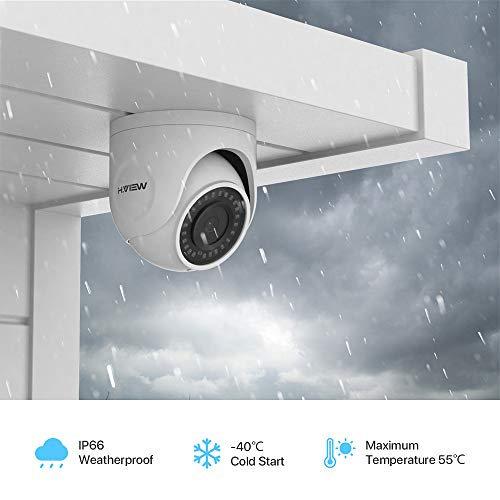 H.VIEW 4K Dome PoE Camera Super HD 8MP Outdoor Security Camera H.265 Encoding with Audio, 2.8mm Lens /IP66 Waterproof…
