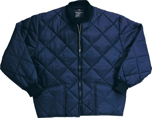 Navy Blue Diamond Quilted Flight Jacket (Large)