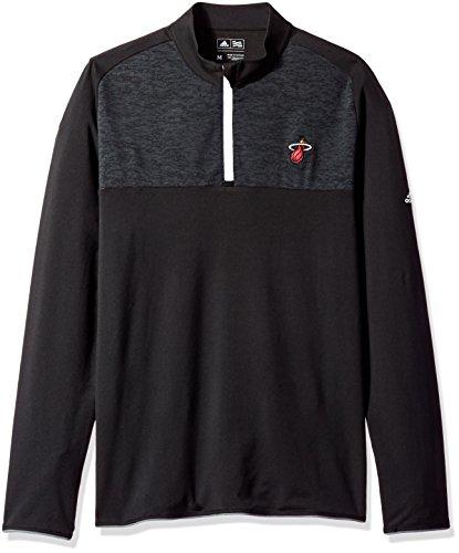adidas NBA Miami Heat Men's Climawarm Fashion 2 Layering 1/4 Zip Pullover Jacket, Black, (Nba Black Green Stripe)