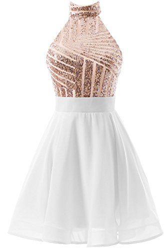 Dress Homecoming white Halter Women's for Short Juniors Backless DYS Dress Prom Rosegold Party q8HSxC