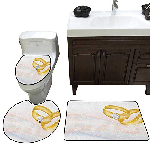 Wedding Bath mat and Toilet mat Set Wedding Rings on Abstract Backdrop Romance Marriage Engagement Print Bathroom Toilet mat Set Pale Pink Baby Blue Gold
