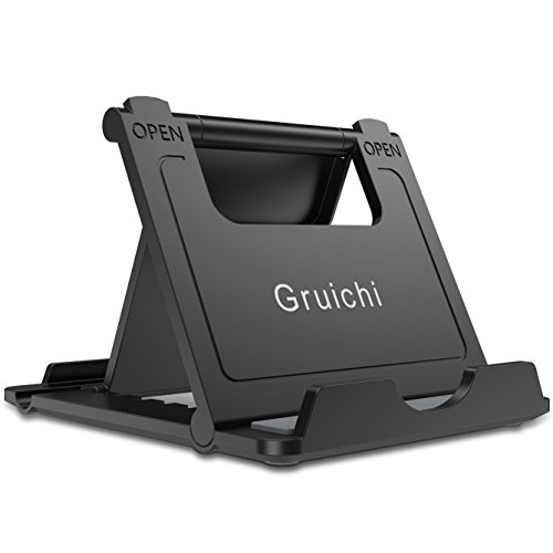 Adjustable Cell Phone Stand, Gruichi iPhone Stand for Desk Tablet Stand, Multi-Angle Desk Phone Dock Holder for iPhone 8 X 7 6 6S Plus Samsung S7/S6 Edge, Nexus, iPad, 6-8 Tablet, E-Reader, Black