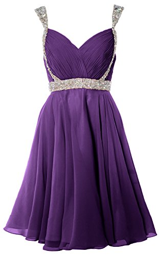 Party Wedding Formal Dress Homecoming Gorgeous Gown Short Violett MACloth Straps Prom fxq0Y