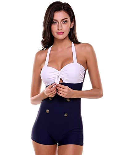 Ekouaer Women Elegant Retro Boy-Leg One Piece Ruched Pin Up Monokinis Swimsuit Bikini Bathing Suit,Blue,XXXL