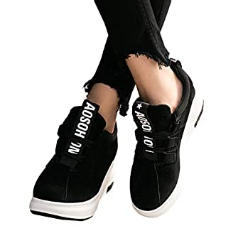 68566e5a6e03 Amazon.com  Women s Platform Sneakers Wedges High Top Lace Up Shoes  Increase Fashion Sneakers for Women Girls  Clothing