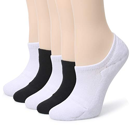 - Leotruny Women's Cushion Sweat-absorbent Breathable Soft Athletic No Show Socks (3-Pairs White+2-Pairs Black)