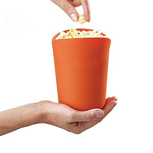 Bulary Microwave Popcorn Air Popper silicone bowl,Collapsible Reusable Popcorn Bucket with Lid for Home