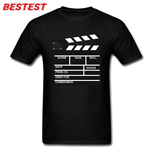 Best Quality - T-Shirts - Funny Men T-shirt Clapperboard T Shirt Director Video Scene Grey Tshirts TV Movie Clapper Board Film Slate Cut Clothes Cotton - by SeedWorld - 1 PCs