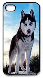 Art Fashion Black PC DIY Case for iPhone 4 Generation Back Cover Case for iPhone 4S with Siberian Husky
