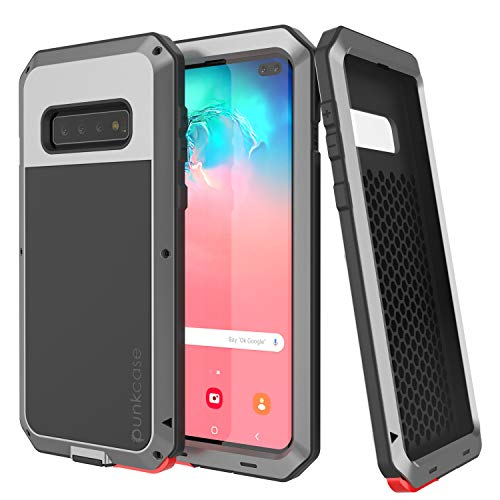 Punkcase S10 Plus Metal Case, Heavy Duty Military Grade Rugged Armor Cover [Shockproof] Full Body Hard Aluminum & TPU Hybrid Design [High Impact Bumper] Compatible W/Samsung Galaxy S10 Plus (Silver) ()