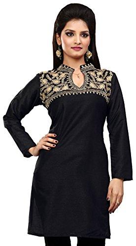 Ladies Designer Silk Black Kurti Sequins & Embroidery India Clothing (S)