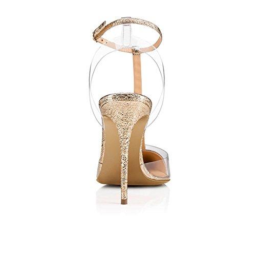 44 Noche Trabajo Zapatos de Carrera Zapatos Albaricoque Tacón UN XUE Fiesta Rojo Color Mujer de y Tamaño Oficina PU Formal Puntiagudas Primavera Aguja y Oro Verano Negro con Hebilla D qfwYHw5