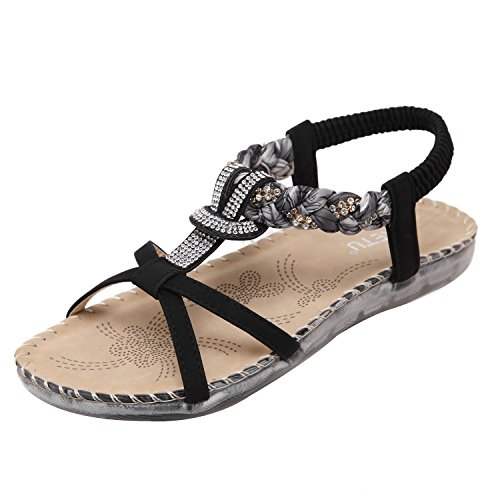 ZAMME Women's Bohemia Crystal Female Summer Flat Shoes Black IZseWK