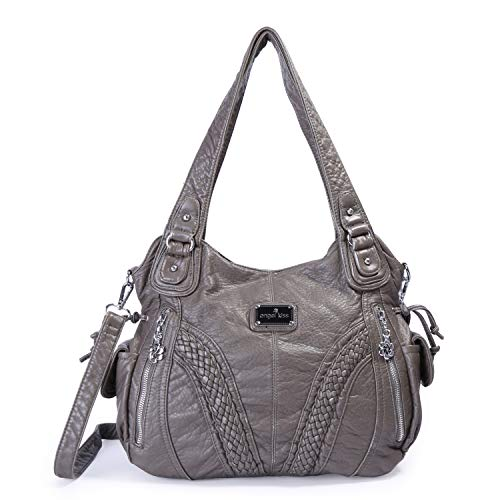 (Angelkiss Women Top Handle Satchel Handbags Shoulder Bag Messenger Tote Washed Leather Purses Bag (D.Grey) ...)
