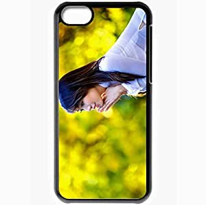 Personalized iPhone 5C Cell phone Case/Cover Skin Asian Brunette Shirt Black