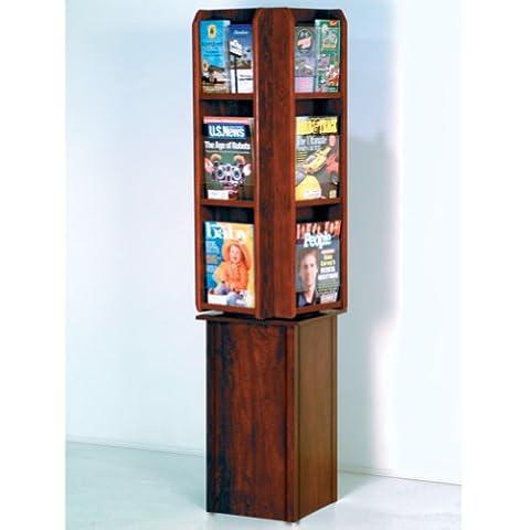 FixtureDisplays Divulge Spinning Floor Display with 12 Magazine/24 Brochure Pockets w/Brochure Inserts - Pocket Literature Floor Display
