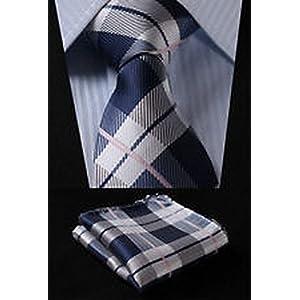 "Dan Smatree Gray Navy Blue Check 3.4"" Silk Woven Men Tie Necktie Handkerchief Set"