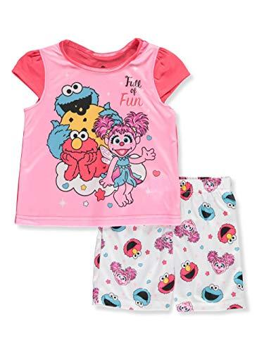 Sesame Street Girls' Toddler 2-Piece Pajama Set, Pink/White Shorts, 2T -