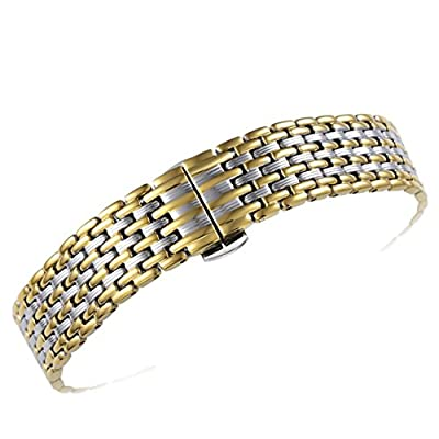 16mm Women's Elegant Two Tone Silver/Gold Metal Watch Bands Special Unique Pleated Pattern Solid 316L Stainless Steel by AUTULET