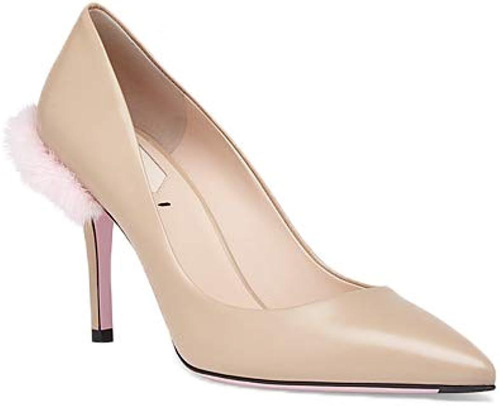 Mink Fur Heels Pumps Shoes, Beige