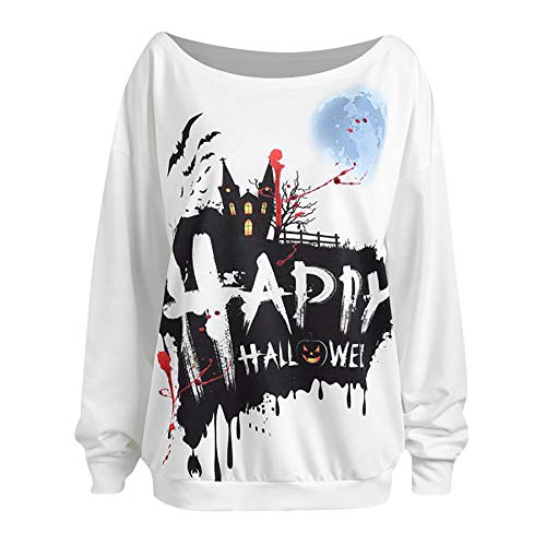 TWGONE Womens Sweaters Casual Halloween Long Sleeve Print Pullover Blouse White (Target Maternity Sweater)