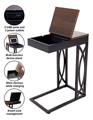 Leisure Space SeeTable - Stash with Device Stand, Charging Station, and Storage (Dark Brown Frame/Walnut Finish Table Top) - C Table/End Table/Side Table/Accent Table