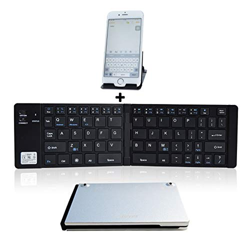 Folding Keyboard Bluetooth,Geyes Wireless Portable Foldable Keyboard with Stand Holder,Pocket Size Ultra Slim Aluminum Alloy Folding Keyboard for iPad,iPhone, Laptops and Smartphones (Silver+Black)