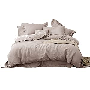 Merryfeel 100% Linen Duvet Cover Set - Full/Queen Natural