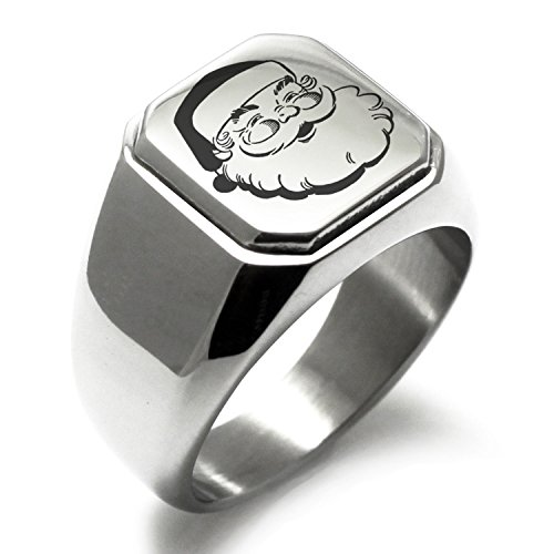 Stainless Steel Classic Hearty Santa Claus Engraved Square Flat Top Biker Style Polished Ring, Size (Biker Santa)