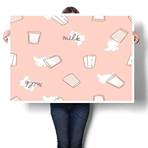 wall hangings Hand drawn seamless pattern with milk drops and glasses Light modern print for fabric wrap paper or wallpaper Ideal background for b Decorative Fine Art canvas Print Poster K 24