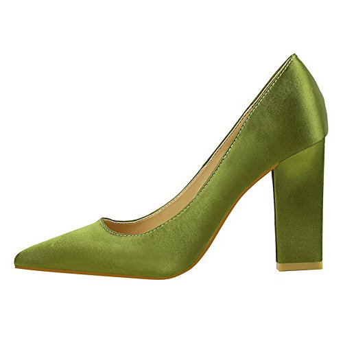 Ballet Tacco Verde Donna Scarpe Alto A Flats Punta Lucido AllhqFashion Tessuto Tirare 0pzPFzwq