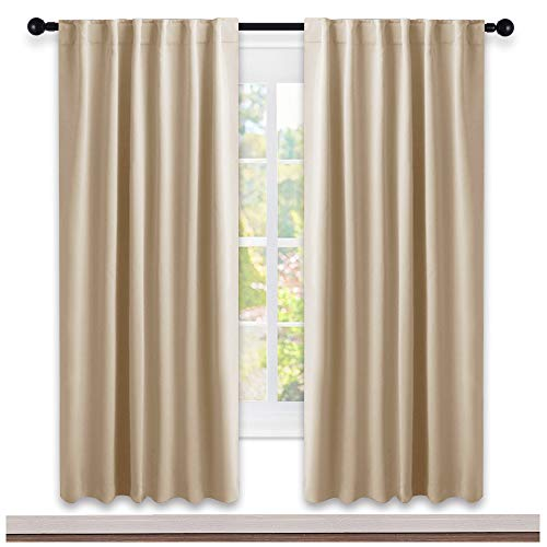 (NICETOWN Window Treatment Blackout Window Blinds - (Biscotti Beige Color) 52x72 Inch, One Pair, Back Tab/Rod Pocket Blackout Draperies for)