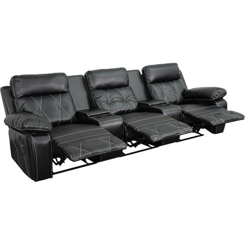 Parkside Home Comfort 3-Seat Reclining Black Leather Theater Seating Unit with Straight Cup Holders