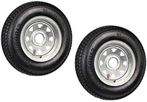 2-Pack Trailer Tire On Rim ST175/80D13 13 in. Load C 4 Lug Galvanized Spoke