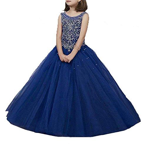Wenli Girls' Sheer Neck Beaded Rhinestones Pageant Dresses 6 US Navy - Neck Rhinestone
