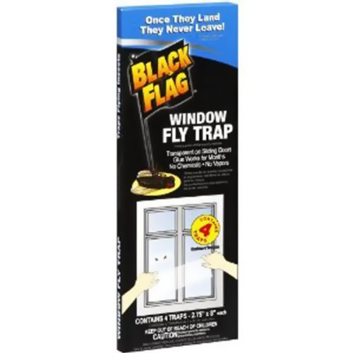 Black Flag Window Fly Trap, Once They Land They Never Leave. 4 Traps
