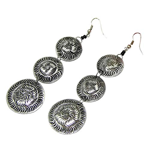 - Silver and Black Round Cascade Etched Aluminum Earrings