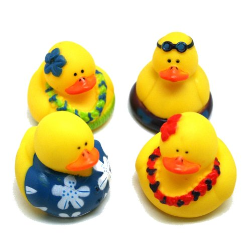 Fun Express Rubber Luau Duckies Hawaiian Hula Toy (12 Piece) - Luau Rubber