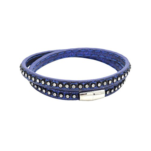 Rocker Costume Diy (Victoria Echo Women Girls 2 Rounds Crystal Sparking Leather Bracelet Bangle Blue)
