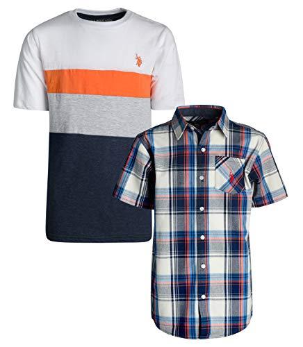 (U.S. Polo Assn. Boy\'s Short Sleeve Button Down Shirt 2 Piece Set (Grey/Blue Plaid, 8)')