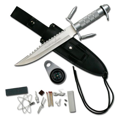Survivor HK-217LS Fixed Blade Knife with Survival Kit, Silver Reverse Serrated Blade, Silver Metal Handle, 9-1/2-Inch Overall